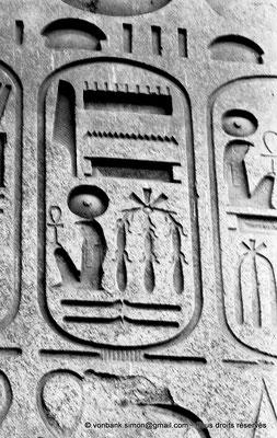 [NB074-1973-64] Louxor - Temple d'Amon-Rê : Cartouche pharaonique (titulature de Ramsès II - Obélisque)