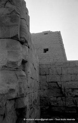 [NB077-1973-08] Karnak - Parvis du Temple : Vue partielle de l'intérieure de la chapelle d'Achôris - En arrière-plan, le môle Sud du premier pylône