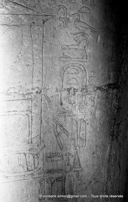 [NB080-1973-17] Saqqara - Mastaba de Meryteti : Cartouches de Meryteti dont l'un a été modifié en Pepyankh (Chambre C4, mur Nord)