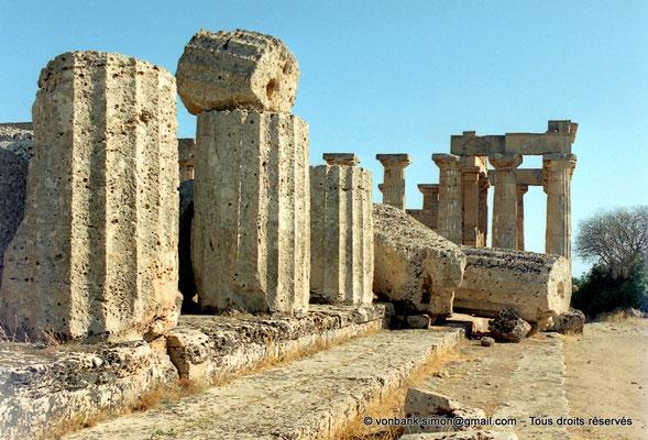 [C003-2005-06a] Sélinonte - Temple F : Ruines - En arrière-plan, le temple E (face Nord)