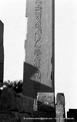 [NB074-1973-24] Karnak - Ouadjyt : Obélisque Nord situé devant l'entrée du pylône V (Hatchepsout)