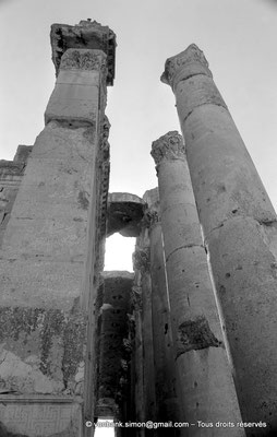 [NB071-1973-22] Baalbek : Temple de Bacchus - Bas-côté avec son plafond à caissons
