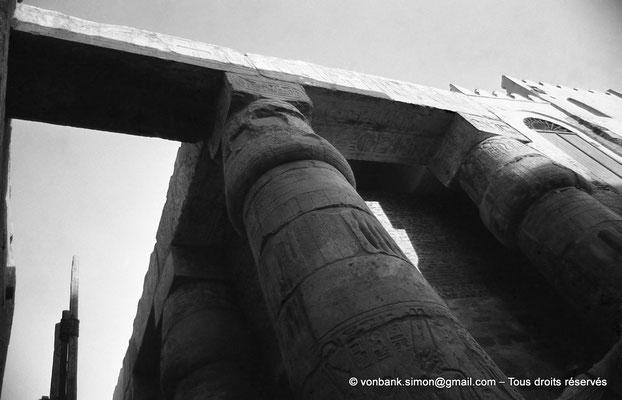 [NB079-1973-04] Louxor - Temple d'Amon-Rê : Grande cour - Détail du portique composé de 74 colonnes à fûts lisses et à chapiteaux papyriformes fermés (Ramsès II)
