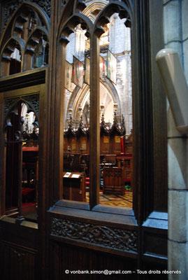 [NU002p-2016-0130] Dublin - Cathédrale Saint-Patrick - Chœur : Stalles utilisées par les chevaliers de l'Ordre de Saint-Patrick (vue partielle)