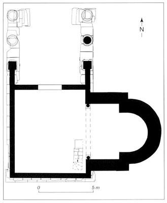 Vernègues (Alvernicum) : 3-Temple et chapelle Saint- Césaire - (Proposition de restitution en plan du temple transformé en église - M-L. Laharie et A. Badie)