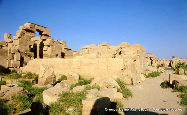 [082-1973-28] Karnak - Ipet-Sout : Magasins, puis sur la gauche, haut du pilier héraldique Nord (papyrus) - A l'extrémité du chemin, entrée de l'Akh-Menou
