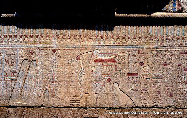 [068-1981-27] Karnak - Ipet-Sout : Titulature de Philippe Arrhidée protégée par un horus (Chapelle de Philippe Arrhidée, face Sud)