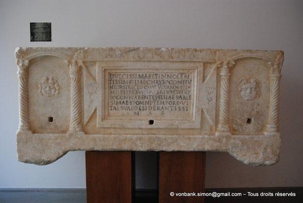 [NU001k-2018-0063] Arles (Arelate) : Sarcophage de Chrysogone, 2ème moitié du IV° siècle - Découvert en 1618 dans les fondements du couvent des Minimes (Arles)