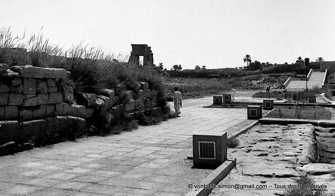[NB078-1973-74] Karnak - Lac sacré : Allée Nord du lac sacré - En arrière-plan, la porte de Nectanébo Ier (Est)