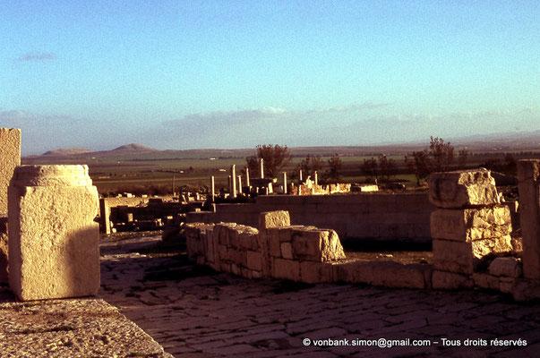 [017-1978-19] El Krib (Musti) : Au loin, colonnes du Temple de Cérès - Vu depuis la forteresse byzantine