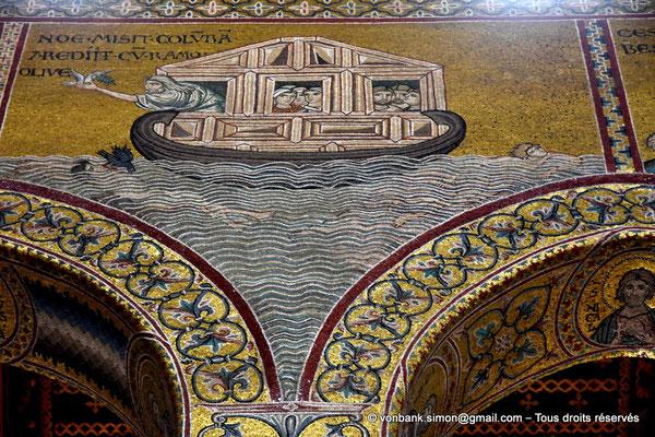[NU906-2019-1748] Santa Maria Nuova (Monreale) : Noë accueille la colombe portant le rameau d'olivier (Vie de Noë (Détail de la Grande nef : mur droit))