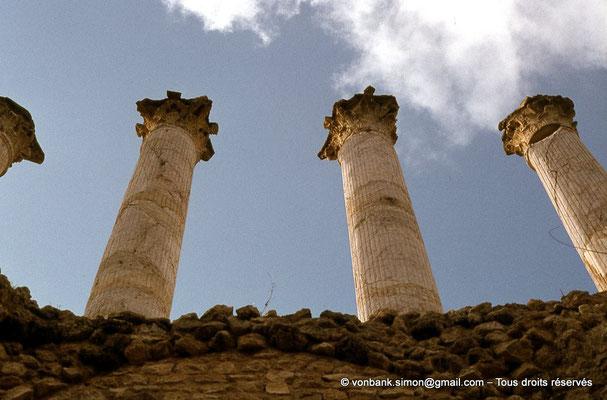 [017-1978-15] Henchir Kasbat (Thuburbo Majus) : Vue, depuis le sous-sol du Capitole, sur les quatre impressionnantes colonnes corinthiennes de 8,50 mètres de hauteur