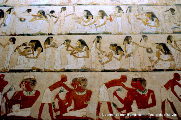 [065-1981-20] TT100 Rekhmirê : Banquet festif - Partie inférieure, le banquet des hommes