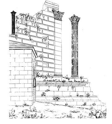 Vernègues (Alvernicum) : 1-Le temple - Elévation orientale et la chapelle Saint-Césaire (d'après Statistique des Bouches-du-Rhône, 1824, pi. XVI)