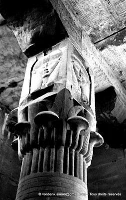 [NB070-1973-66] Karnak - Temple d'Opet : Colonne palmiforme à chapiteau hathorique (Salle hypostyle)
