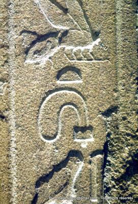 [087-1973-29] Saqqara - Mastaba de Mererouka : Détail d'une colonne de hiéroglyphes (Côté gauche de l'entrée)