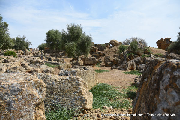 [NU906-2019-1599] Agrigente - Temple de Zeus Olympien : Ruines situées au Sud-Est du temple - En arrière-plan, colonnes du temple d'Hercule