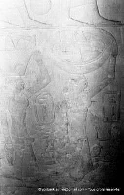 [NB080-1973-33] Saqqara - Mastaba de Mererouka : Noms de domaines précédés des cartouches de Teti (Chambre A6, mur Sud)