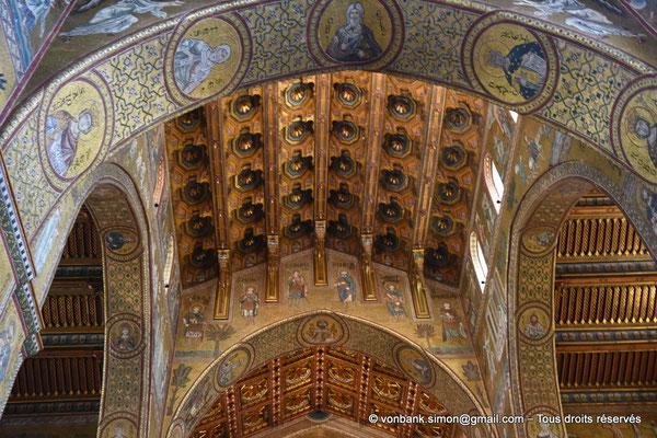 [NU906-2019-1701] Santa Maria Nuova (Monreale) : Plafond de la croisée du transept