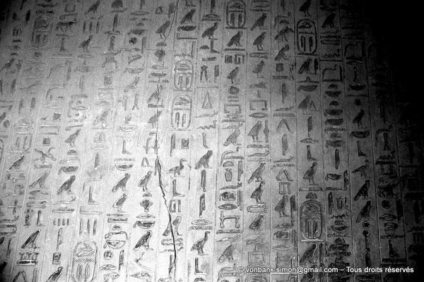 [087-1973-34] Saqqara - Ounas : Cartouches du pharaon - Textes des pyramides (Livre des morts) vue partielle