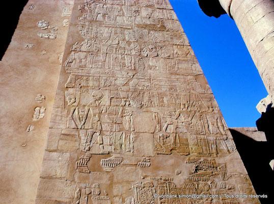 [082-1973-08] Karnak : Salle hypostyle : Détail du montant gauche de la porte du pylône II