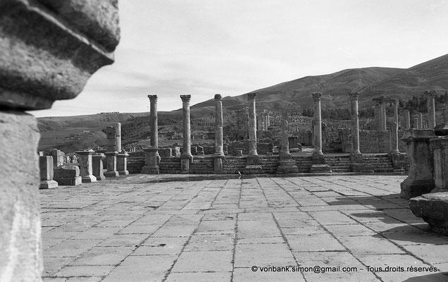 [NB031-1978-12] Djemila (Cuicul) : Forum (vue prise depuis l'autel) - Derrière la colonnade Sud, à droite, le Temple de Venus Genetrix - Plus en arrière, le Temple Septimien