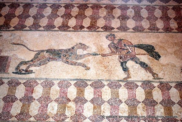 [NU900-2012-065] Paphos (Nea Paphos) : Villa de Dionysos - Scène de chasse - Chasseur attaquant un léopard [11]