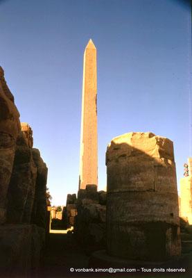 [082-1973-27] Karnak - Ouadjyt : Sur la gauche, colosses de Thoutmôsis Ier adossés au pylône IV - En arrière-plan, l'obélisque d'Hatchepsout