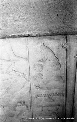 [NB080-1973-27] Saqqara - Mastaba de Mererouka : Détail bas-relief (Chambre A6, mur Sud)