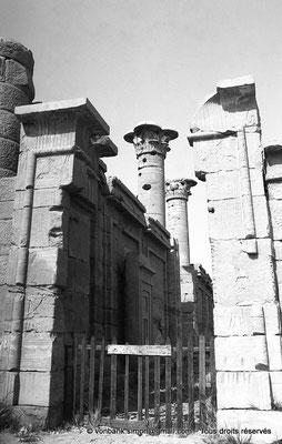 [NB086-1981-65] Medinet Habou : Murs d'entre-colonnement ornés de tableaux rectangulaires et enserrant deux colonnes à chapiteaux gréco-égyptiens (Petit temple des Thoutmosides)