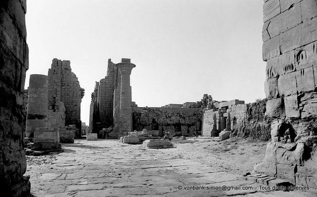 [NB077-1973-24] Karnak - Grande cour : Depuis la Porte du premier pylône, vue sur la colonne de Taharqa ; à droite, le temple de Ramsès III - En arrière-plan, la Porte de la salle hypostyle