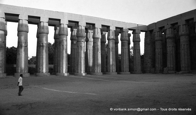 [NB079-1973-21] Louxor - Temple d'Amon-Rê : Cour (52 m x 46 m) entourée d'une double rangée de 64 colonnes papyriformes fasciculées et cannelées (Aménophis III)