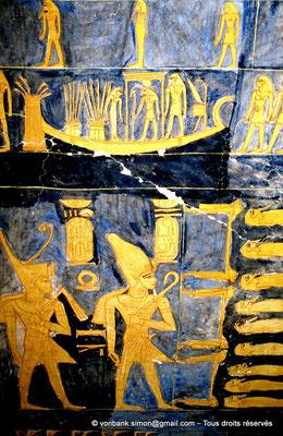 [066-1981-23] KV 6 Ramsès IX : Ramsès IX couronné du Decheret puis du Hedjet (détail du plafond astronomique)