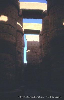 [089-1973-01] Karnak - Salle hypostyle : Colonnes à chapiteaux papyriformes fermés
