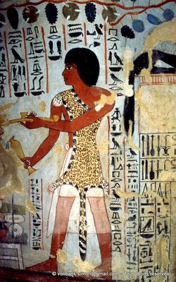 [065-1981-25] TT 96B - Sennefer : Un prêtre–sem fait de la main gauche un encensement, de la droite une lustration (chambre funéraire)
