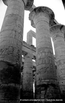 [NB075-1973-22] Karnak - Salle hypostyle : Allée principale (colonnes à chapiteaux papyriformes ouverts (1, 2 et 3))