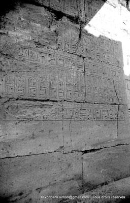 [NB077-1973-30] Karnak - Temple de Séthi II : Le passage de la porte de la chapelle d'Amon est couvert de titulatures de Séthi II