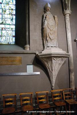 [NU002p-2016-0141] Dublin - Cathédrale Saint-Patrick : Statue de pierre de Saint Patrick qui se compose de trois différentes parties (XIII°, XVII° et XIX° siècles) (transept Sud)