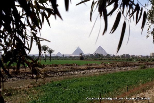 [067-1981-23] Gizeh : De gauche à droite, les pyramides de Khéops, Képhren et Mykérinos