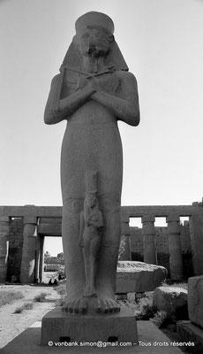 [NB075-1973-12] Karnak - Grande cour : Statue de Ramsès II usurpée par Pinedjem