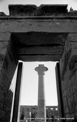 [NB077-1973-72] Karnak - Temple de Ramsès III : Porte d'entrée, vue prise depuis la cour - En arrière-plan, colonne de Taharqa