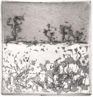 Feustel., Maja-Helen, Kleine Landschaft, Radierung-Reservage, 2013, ea, 5x5 cm / 20 Euro