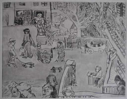 Frewurst-Collber, Antje, Die Straße, Kaltnadelradierung 1983, 32,5x42,5 cm / 150 Euro