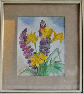 Klünder, Ingelore, o.T., Blumen, Aquarell, o.J., 30,0 x 23,0 cm / 60 Euro