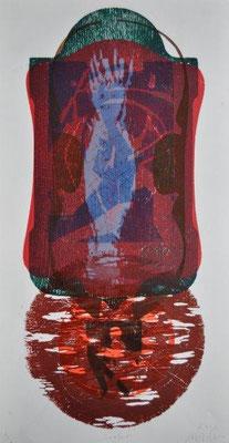 Arantes Müller, Michael, Sucher, Farbholzschnitt 2012, 1-1, 60,0x30,0 cm / 380 Euro