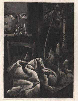 Richter, Gerenot, Stillleben mit Tuch für KK, Radierung-Aquatinta-Mezzotinto, 1984, II 14-20, 17,5x13 cm / 100 Euro