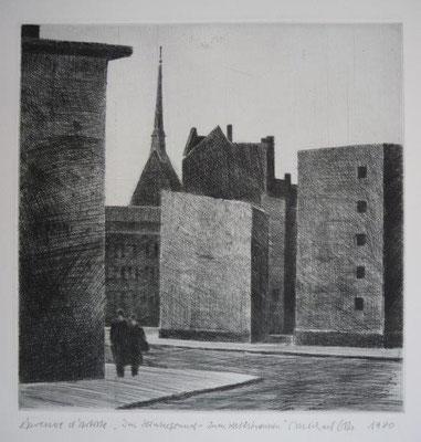 Otto, Michael, Im Hintergrund Zum Heilsbronnen, 1980, Kaltnadel, 19,7x19,5 / 180 Euro
