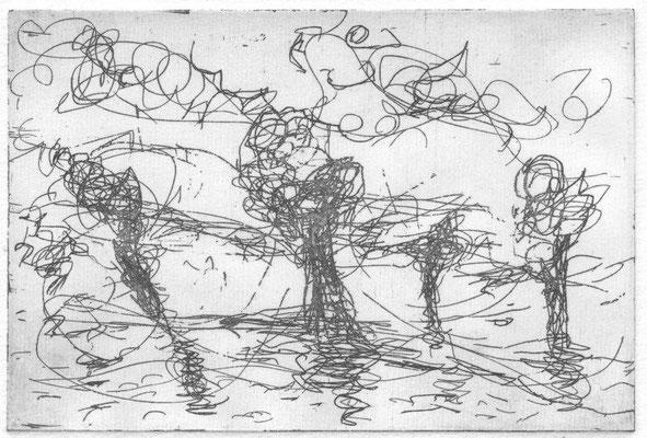 Ascheraden, Constanze von, An der Oder, Radierung, 2013, 4-4, 13,0 x 17,5 cm / 26 Euro