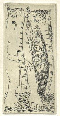 Drewelow, Heike, meiner ist länger, Radierung, 2009, 25-28, ea, 5x10 cm / 30 Euro