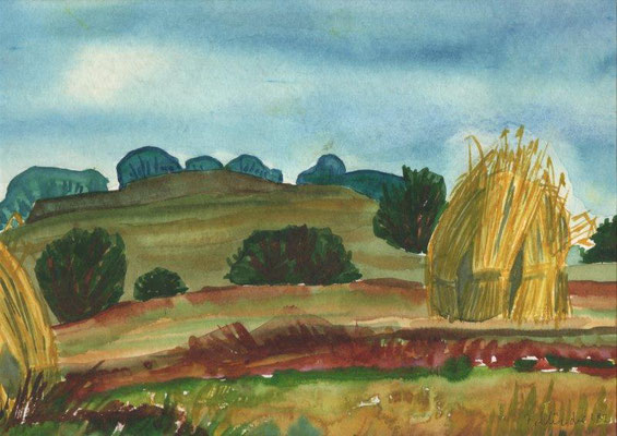 Klünder, Ingelore, Ernte, Aquarell, 1982, 20,0 x 28,0 cm / 60 Euro